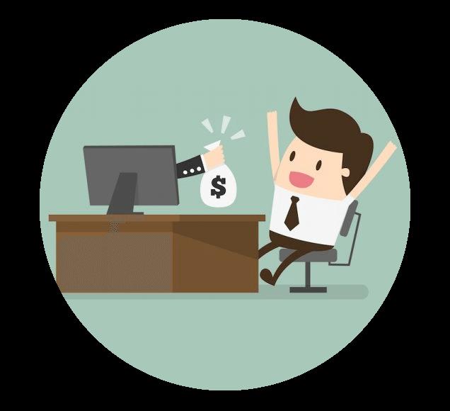 Online Entrepreneur Making Money Illustration