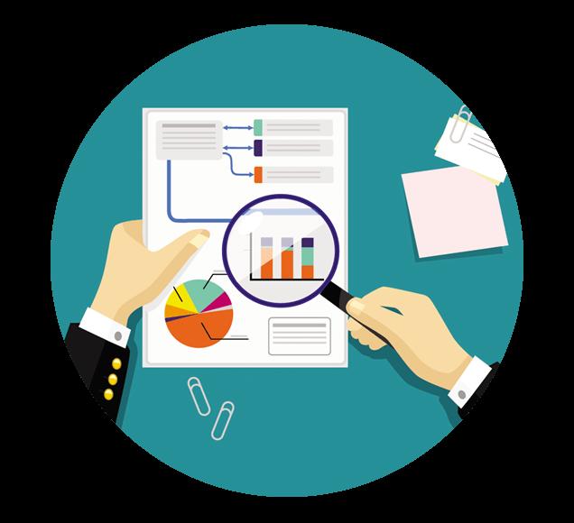 Man Analysing Sales Data Illustration