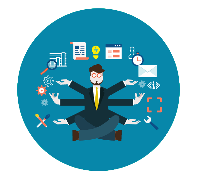 Office Worker Multi-Tasking Illustration