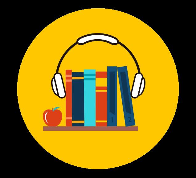 Headphones on Books Audio Books Illustration