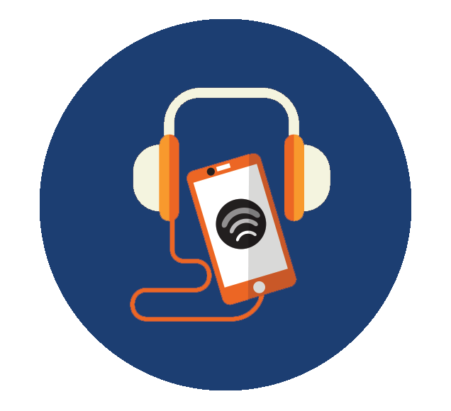 Headphones Connected to Broadcasting Mobile Phone Illustration