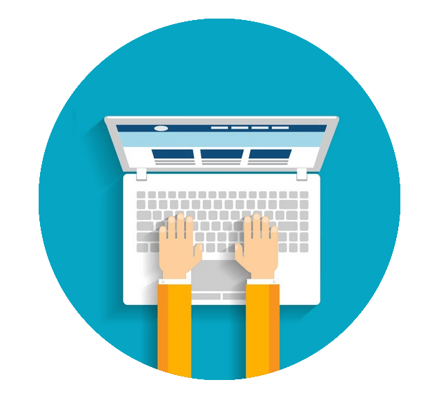 Hands-On Laptop Computer Illustration